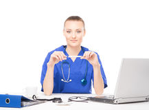 Young female medical worker in an office Royalty Free Stock Photography