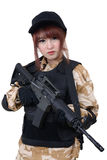 Young female in military style suit. Royalty Free Stock Image