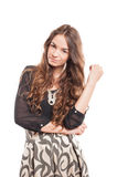 Young female model with beautiful and natural long hair Stock Images