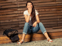 Young female model laughing Stock Photography