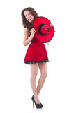Young female model posing in red mini dress Stock Photography