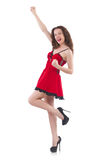 Young female model posing in red mini dress Stock Images