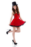 Young female model posing in red mini dress Royalty Free Stock Photography