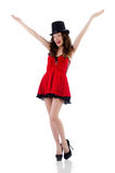 Young female model posing in red mini dress Royalty Free Stock Image