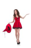 The young female model posing in red mini dress Royalty Free Stock Photos