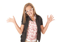 Young female model in white glasses posing with hands out Royalty Free Stock Image