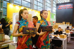 Young female models promote tea products Royalty Free Stock Photography