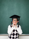 Young female nerd shy and excited stock images