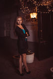 Young female in night city Royalty Free Stock Image