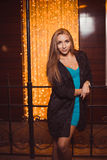 Young female in night city Stock Photography