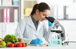 Young female nutritionist testing food samples stock photos