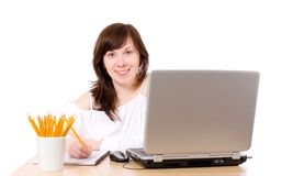 Young female office worker, isolated Stock Photo