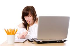 Young female office worker, isolated Stock Images