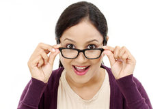 Young female optician showing eye glasses Stock Photography