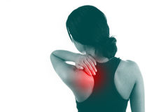 Young Female with pain back pain and neck pain Royalty Free Stock Image