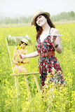 Young female painter stock photos