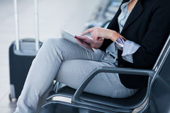 Young female passenger at the airport, Royalty Free Stock Photography