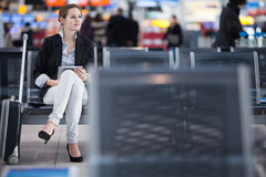 Young female passenger at the airport Stock Photos