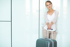 Young female passenger at the airport Stock Photography