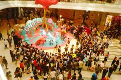 Young female performers perform at the opening ceremony and entertainment of a large shopping mall. In Shenzhen, china royalty free stock photo