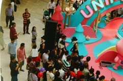 Young female performers perform at the opening ceremony and entertainment of a large shopping mall. In Shenzhen, china stock photos