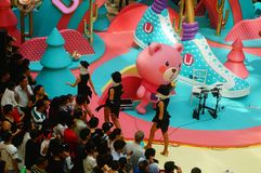 Young female performers perform at the opening ceremony and entertainment of a large shopping mall. In Shenzhen, china stock image