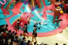 Young female performers perform at the opening ceremony and entertainment of a large shopping mall. In Shenzhen, china royalty free stock images