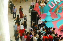 Young female performers perform at the opening ceremony and entertainment of a large shopping mall. In Shenzhen, china royalty free stock photos