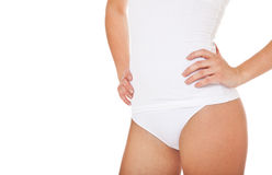 Young female person in white underwear Stock Photography