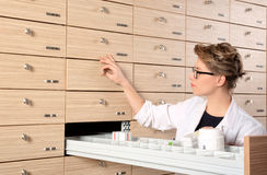 Young female pharmacist portrait Royalty Free Stock Image