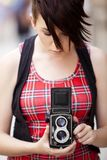 Young female photographer Stock Photos