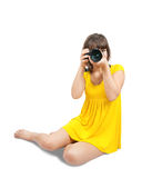 Young female photographer  with camera Royalty Free Stock Image