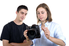 Young female photographer and student Stock Images