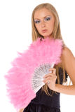 Young female with pink hand fan isolated Stock Images
