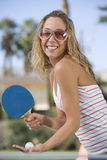 Young Female Playing Table Tennis Stock Image