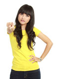 Young female pointing at you Royalty Free Stock Images