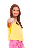 Young female pointing at you Royalty Free Stock Image