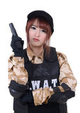 Young female police with handgun. Stock Image