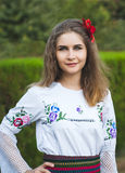 Young female posing in traditional Serbian Royalty Free Stock Images