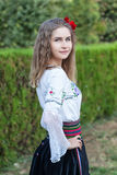 Young female posing in traditional Serbian Stock Photo