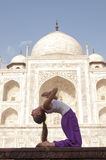 Young female practising Ustrasana or Camel Pose at Taj Mahal Stock Images