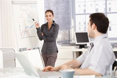 Young female presenting in office smiling Stock Photography