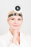 Young female professional doctor with medical tool Stock Images