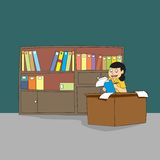 Young female professional librarian or book-keeper. At work with bookshelf background stock illustration
