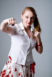 Young female punching Stock Photo