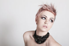 Young Female Punk with Pink Hair stock photos