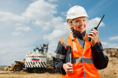 Young female with radio set Royalty Free Stock Photos