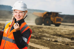 Young female with radio set Stock Photos
