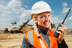 Young female with radio set Royalty Free Stock Photo