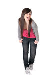 Young female razz cheerful isolated. Young adult teen razz cheerful on white background royalty free stock image